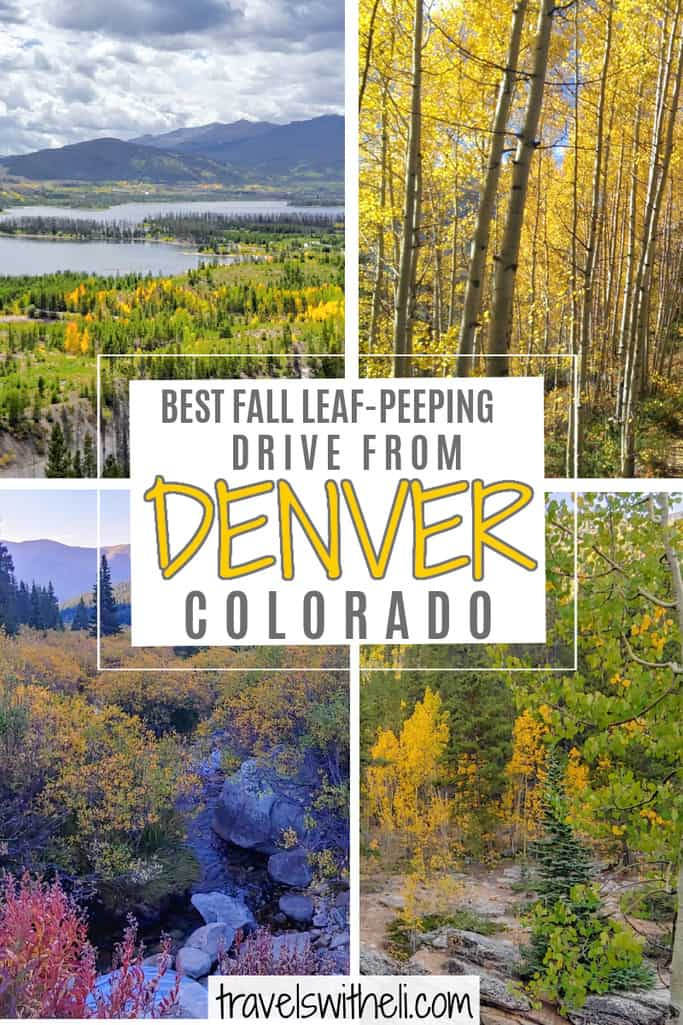 four fall color scenes - text- best fall leaf-peeping drive from Denver Colorado